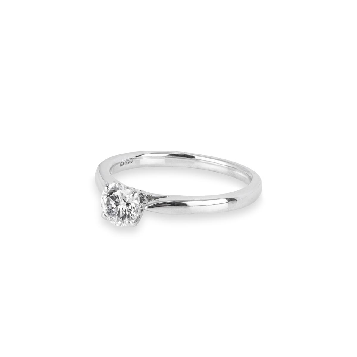 18k White Gold Round Brilliant Cut Diamond Ring 0.55ct I/VS1